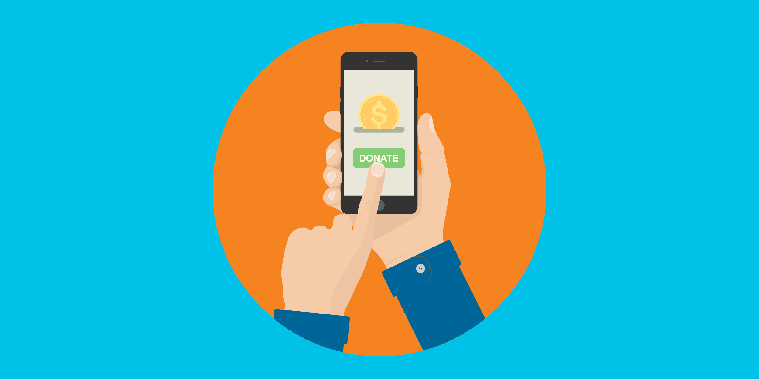 illustration of a person making a donation to a nonprofit on a mobile phone