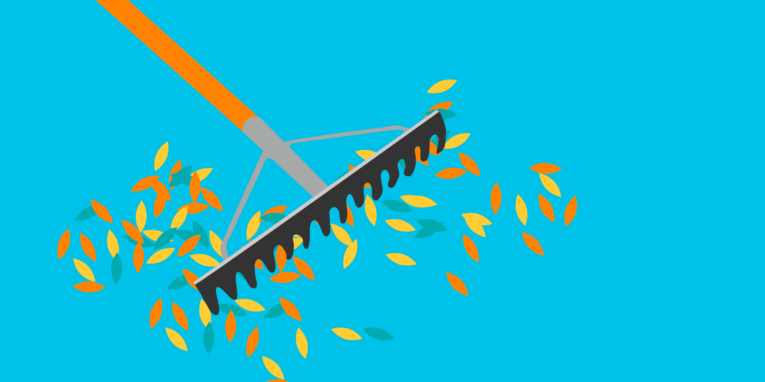 illustration of a rake gathering leaves, symbolizing raising more money for your nonprofit