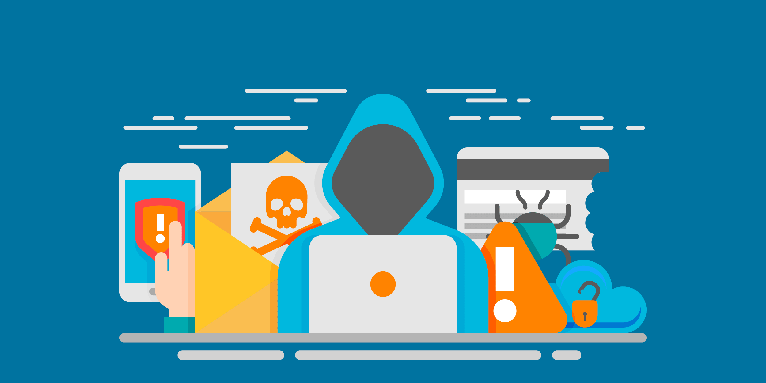 illustration of a faceless person with a laptop next to a poisoned letter and a credit card with a bug on it, representing hackers and the need for digital security