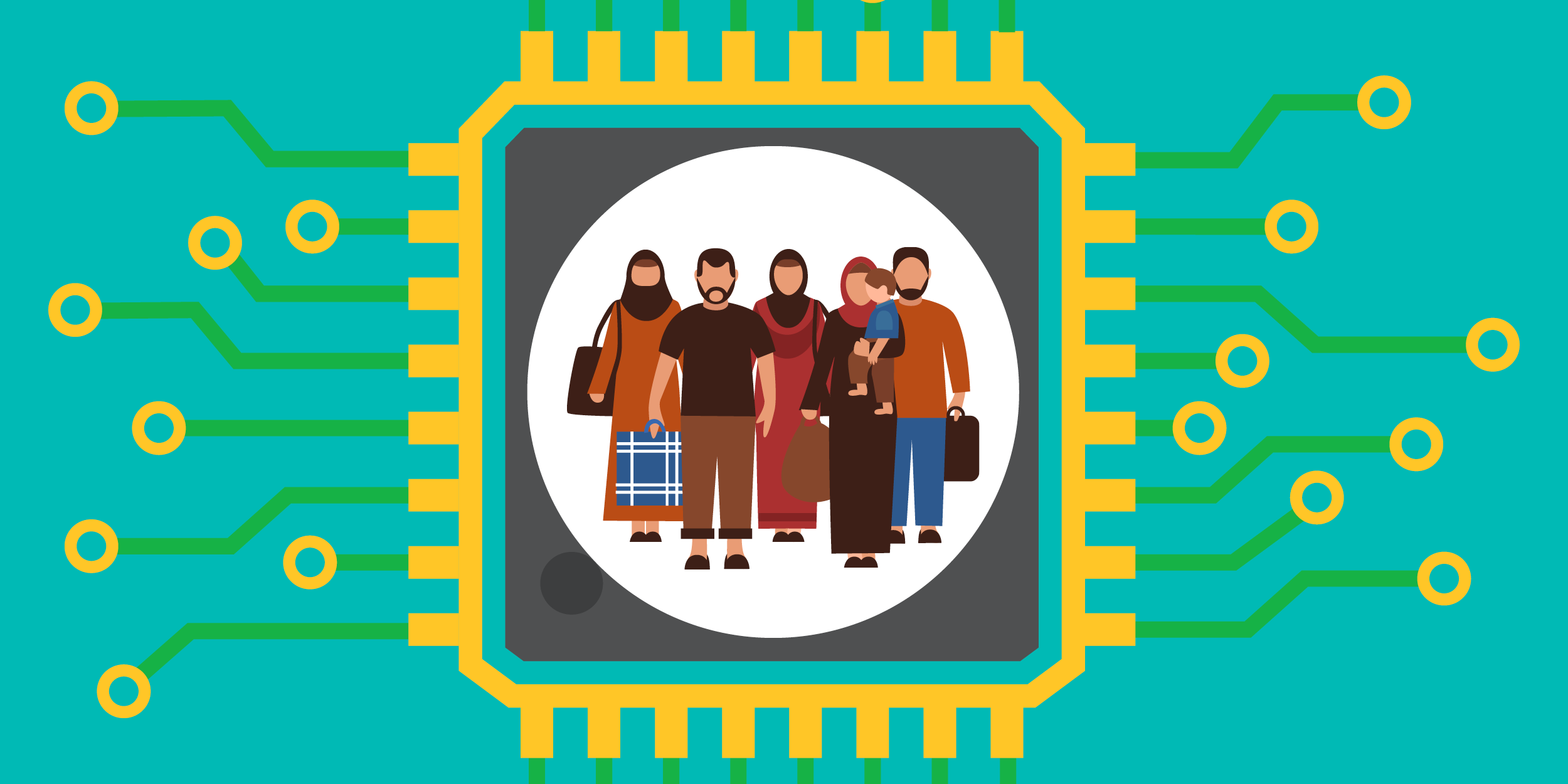 illustration of refugees being protected by a computer chip, symbolizing data security for nonprofits who work with refugees