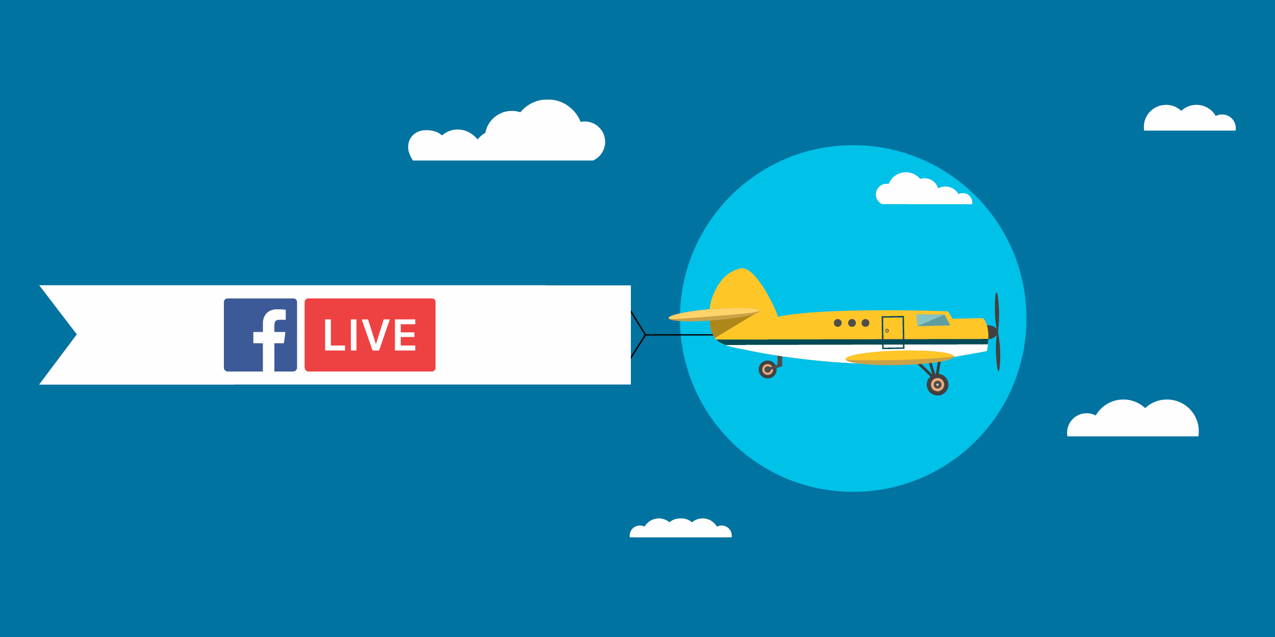 illustration of an airplane pulling a Facebook Live banner