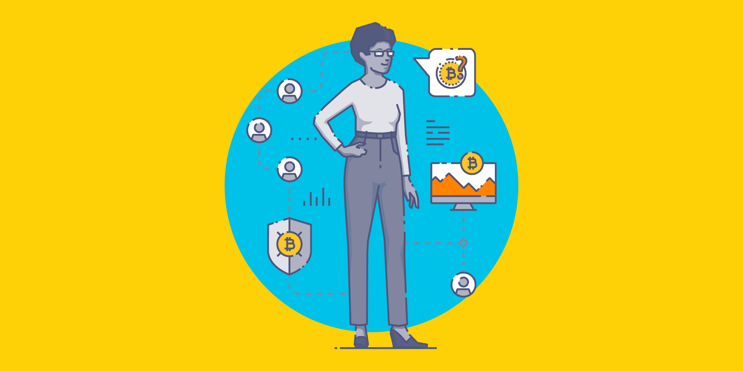 illustration of a woman talking about bitcoin and surrounded by a web of people using bitcoin for nonprofits