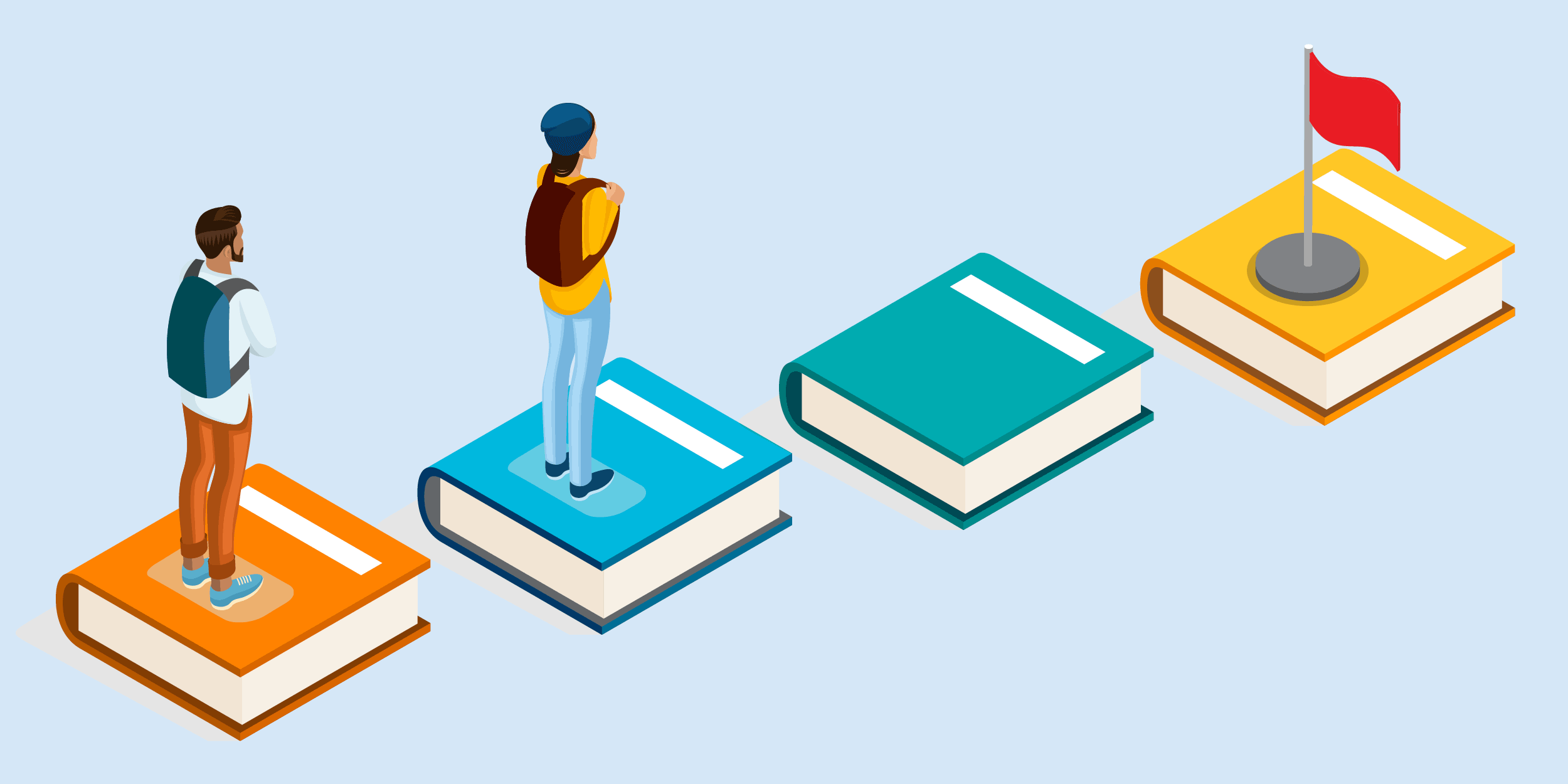 illustration of students standing on stepping stones leading them to a goal, representing how technology can help nonprofits support students