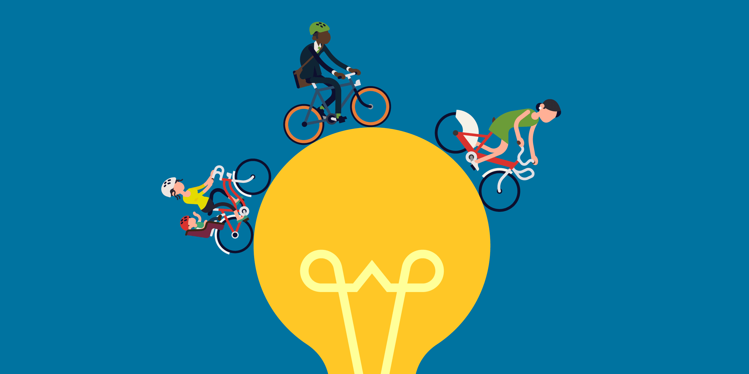 an illustration of a mom, a business person, and another woman riding bicycles on top of a lightbulb, symbolizing B!KE's vision of the bicycle as a tool for personal empowerment