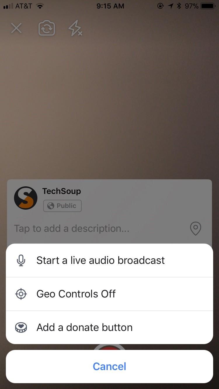 screenshot Facebook Live start a live audio broadcast icon