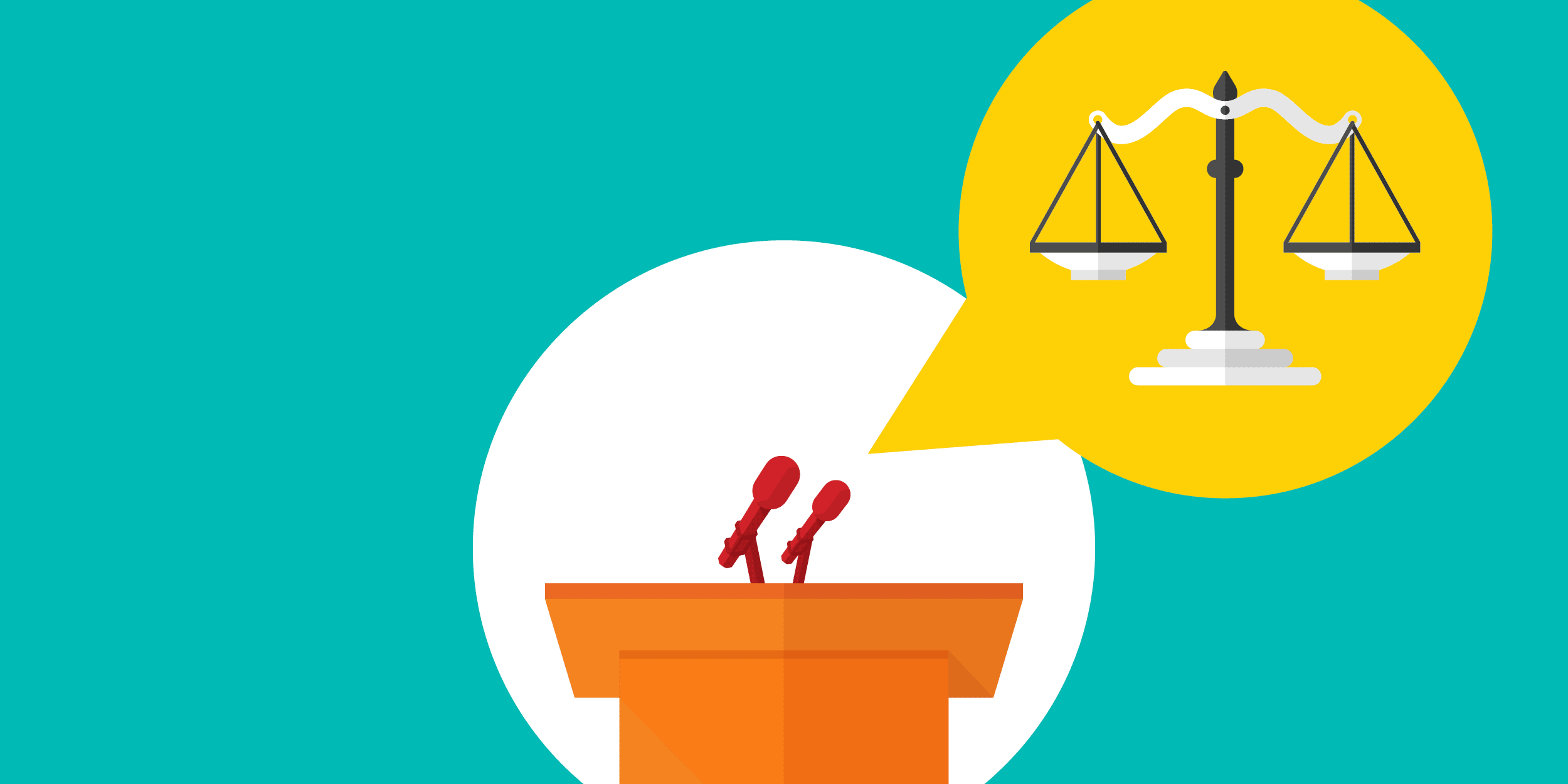illustration of a podium with two microphones; one is talking about the scales of justice, representing social impact technology panels at the sxsw conference