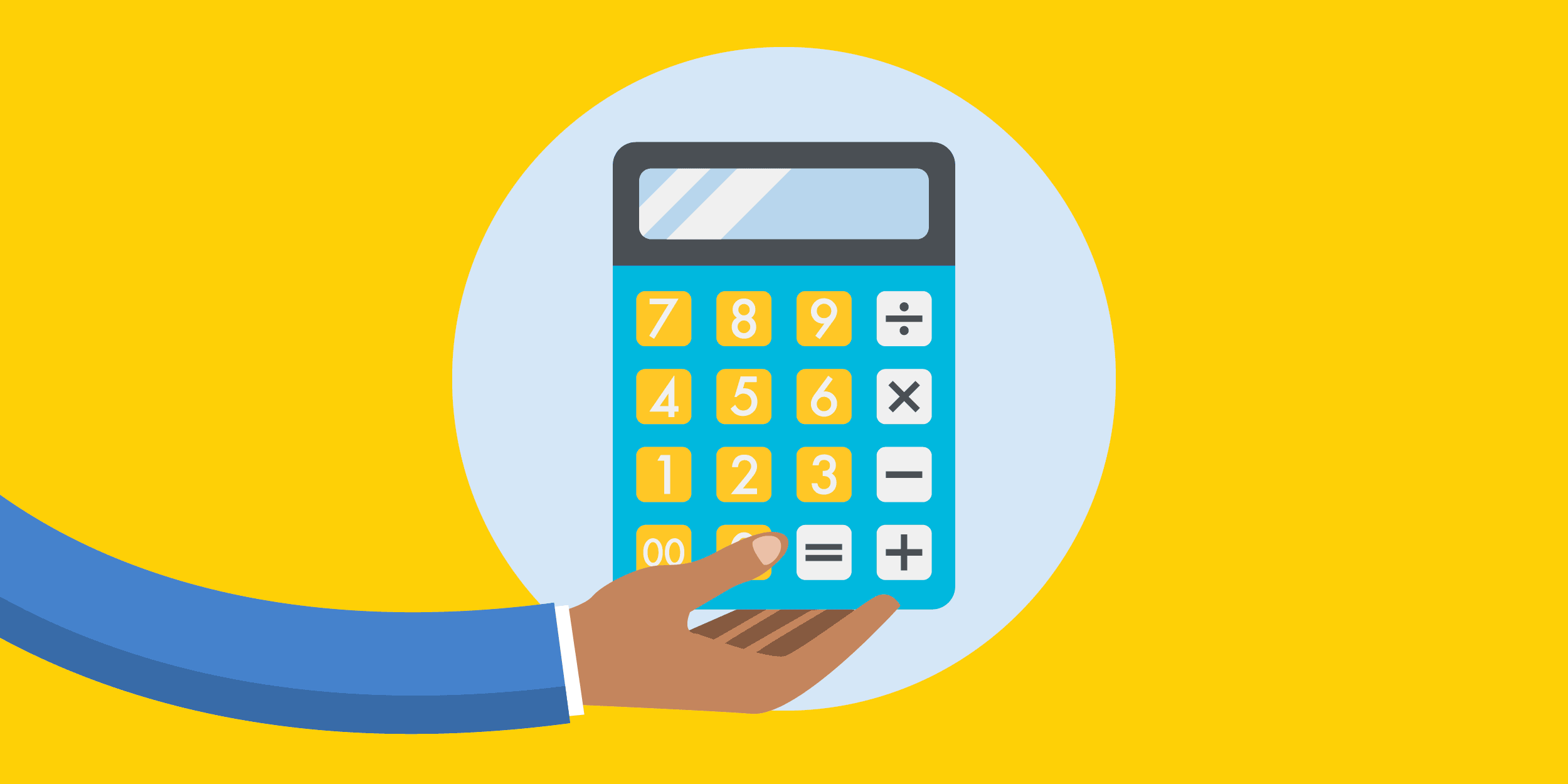 illustration of a person holding a large calculator, symbolizing nonprofit accounting and financial management