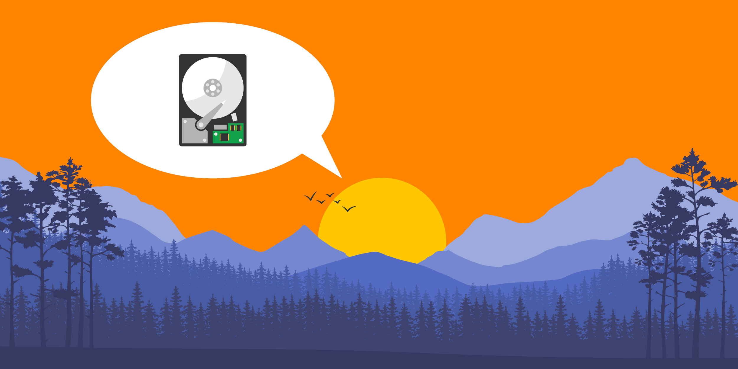 illustration of a sunset in the Blue Ridge mountains with the sun talking about nonprofit data backup