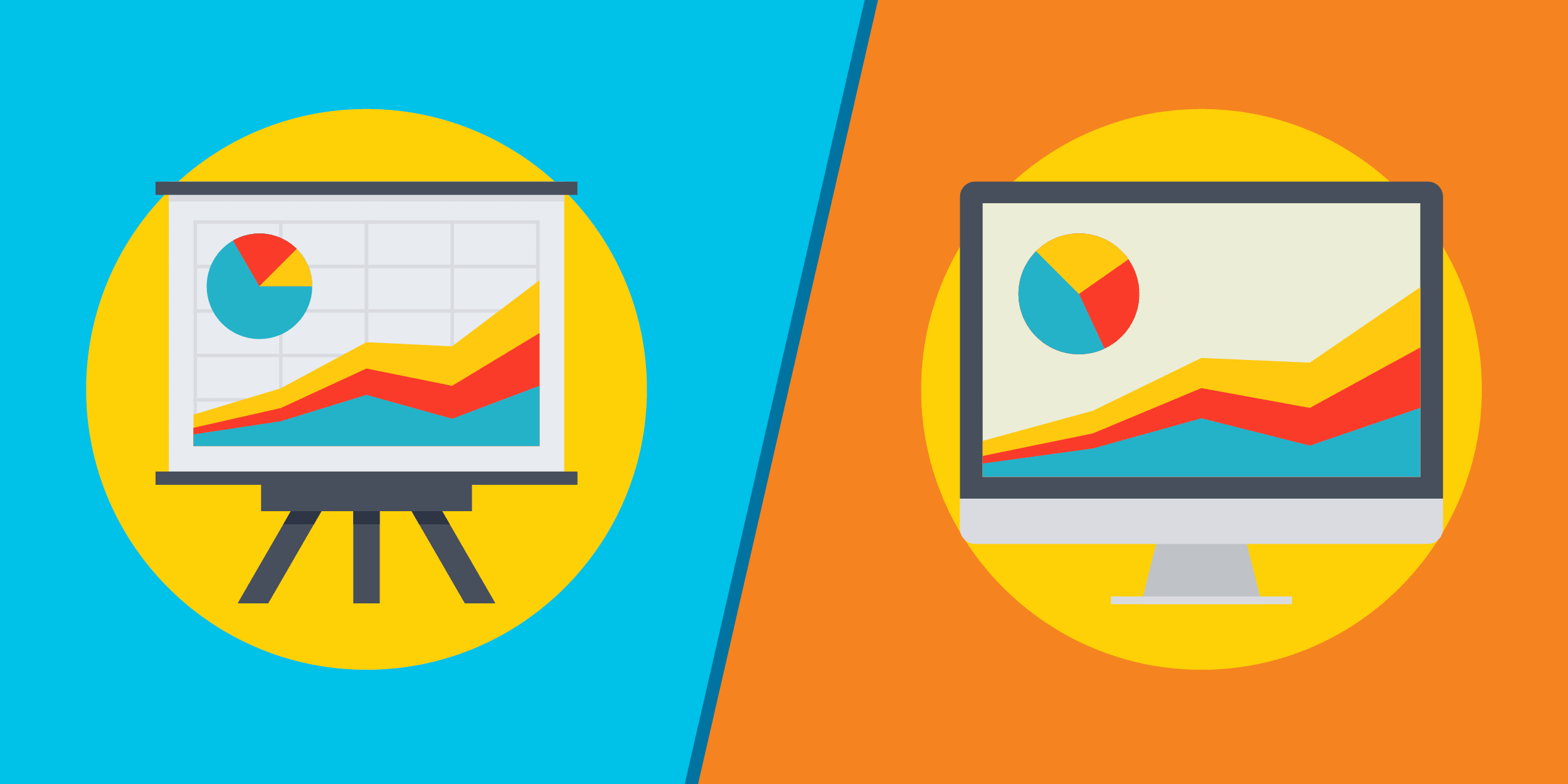 illustration of pie and line charts on an easel compared to financial charts on a computer, representing the need for new nonprofit accounting or financial management software