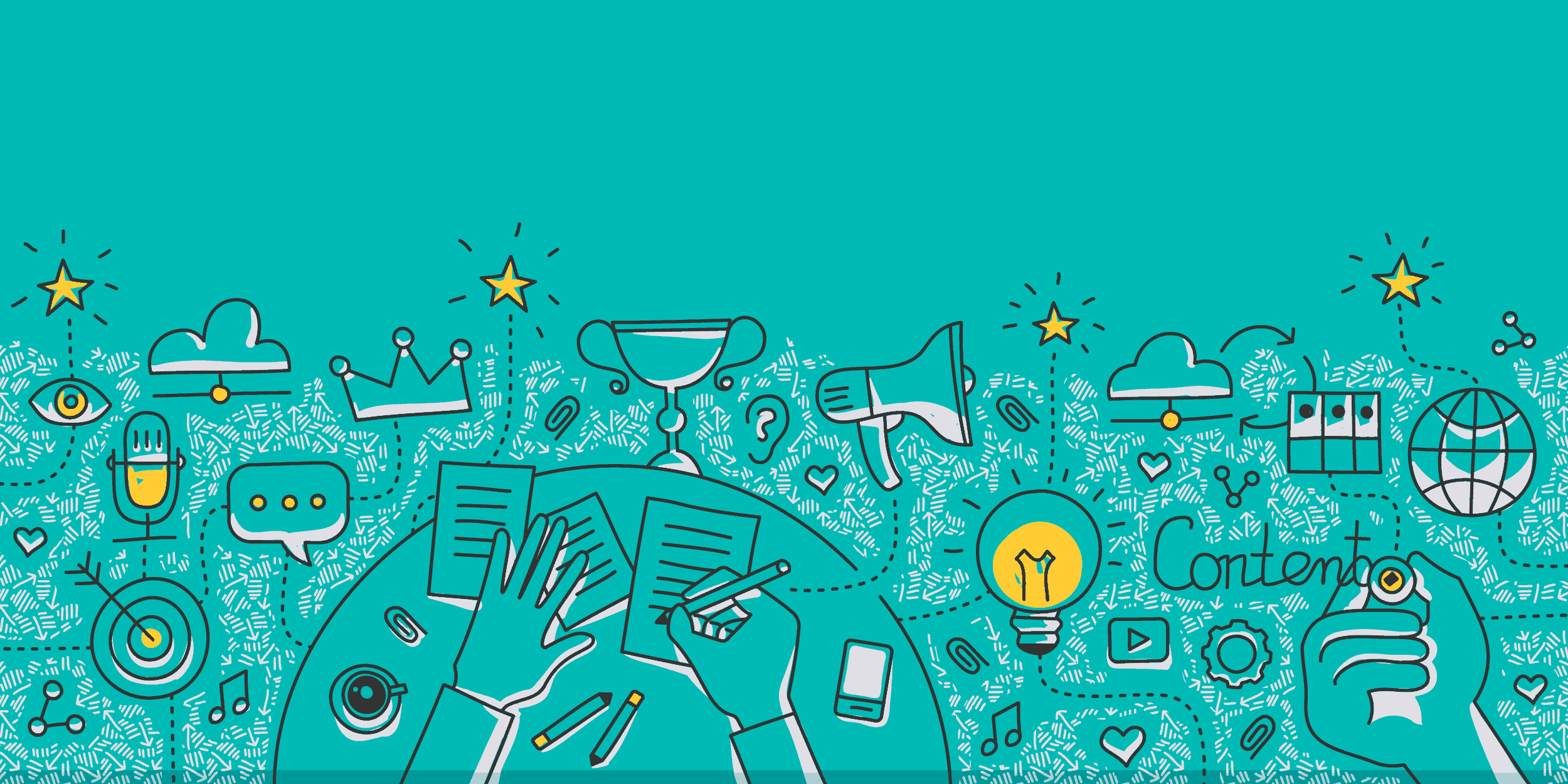 illustration of a person writing a nonprofit communications strategy connected to a megaphone, lightbulb, other icons, and the word Content