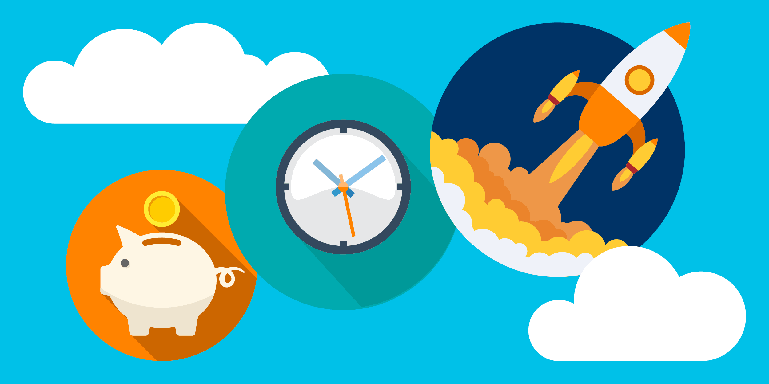 illustration of a piggy bank, a clock, and a rocket ship blasting off,  symbolizing how nonprofits can save time and money using cloud products together