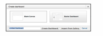 Google Analytics screenshot showing Create Dashboard button