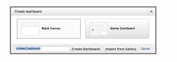 Google Analytics screenshot showing Create Dashboard button