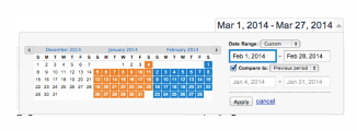 Google Analytics screenshot of a date comparison between now and a comparable period in the past