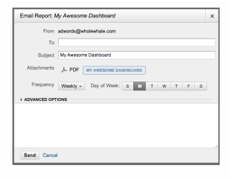 Google Analytics screenshot showing how to set up an email report of a nonprofit dashboard