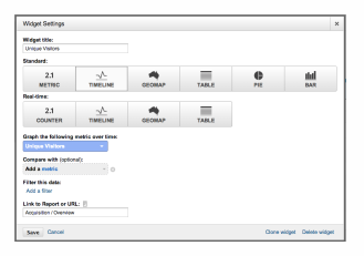 Google Analytics screenshot of widget settings