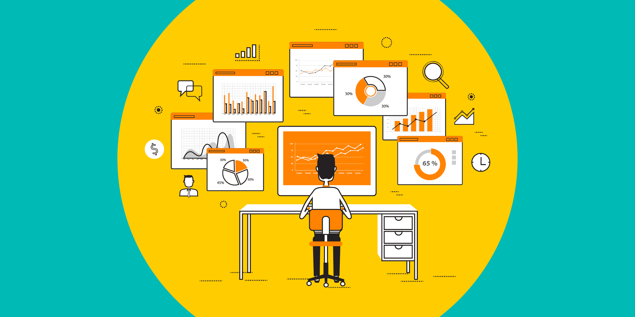 illustration of a nonprofit staffer looking at a computer screen with Google Analytics dashboards on it