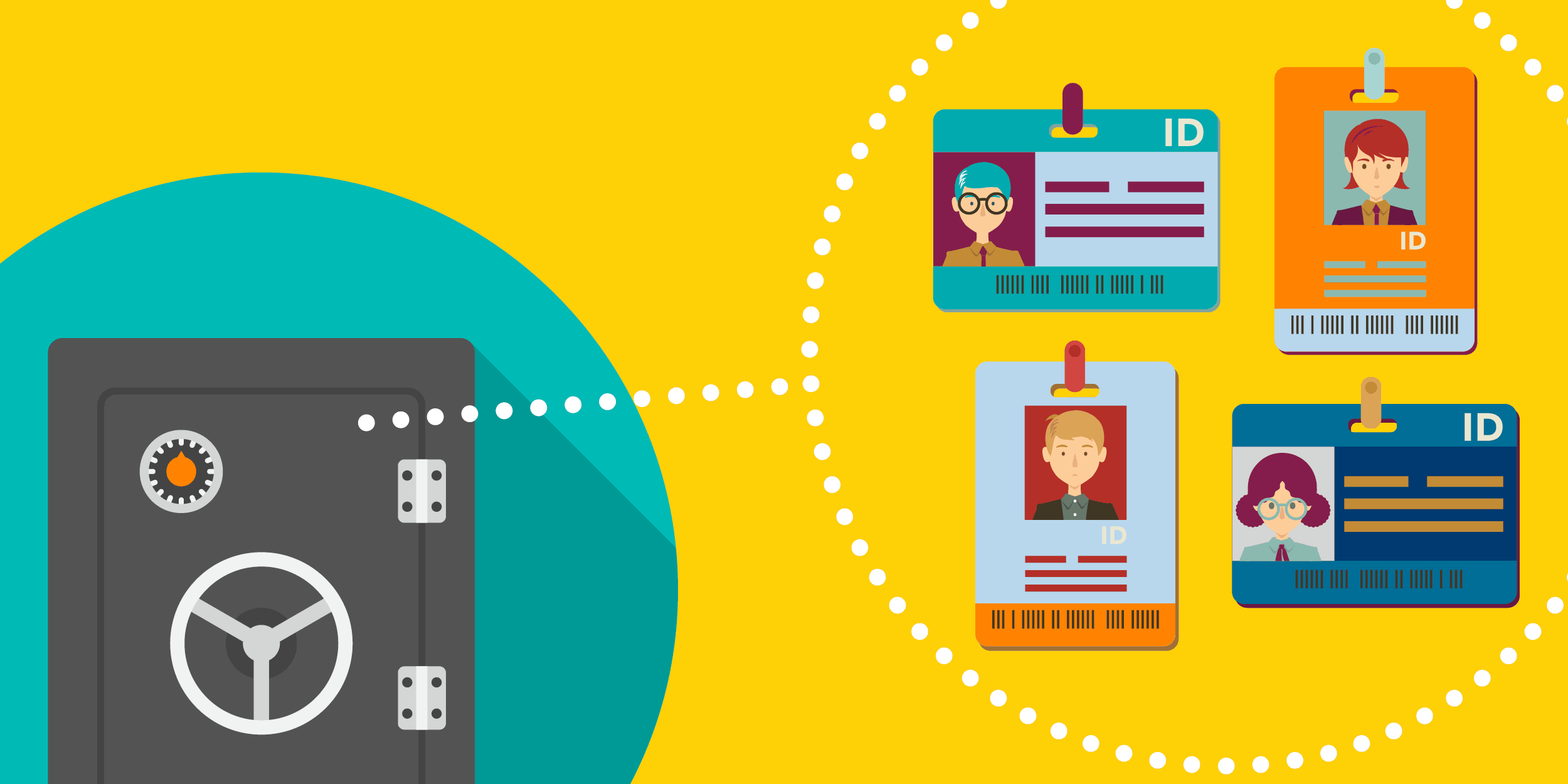 illustration of a locked vault keeping people's identify safe, symbolizing data security for nonprofits