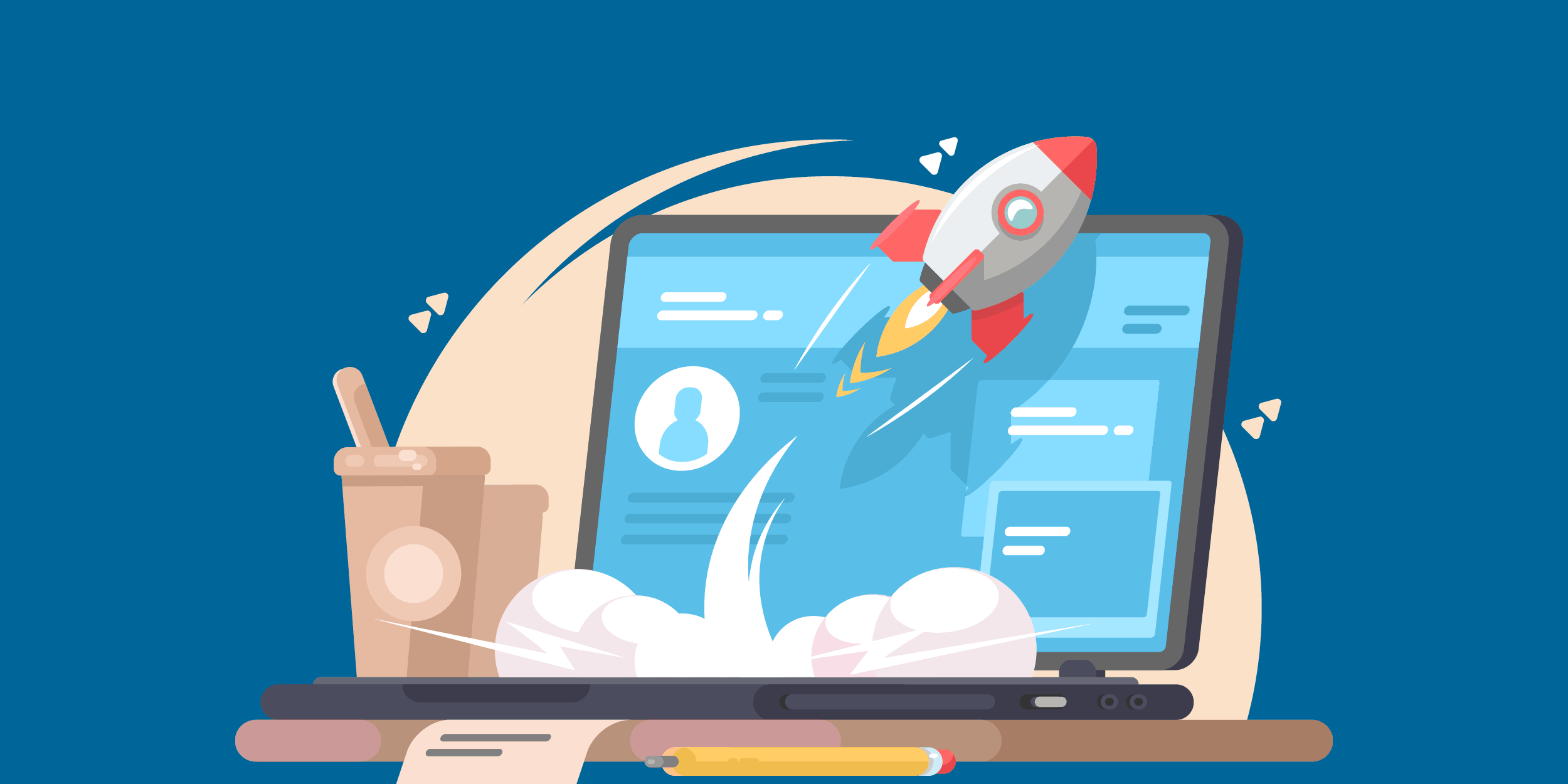 illustration of a rocket launching from a laptop, representing how a successful nonprofit program would assess its constituents' needs before launching