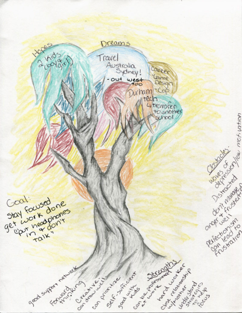 a tree drawn by a Boomerang participant showing her dreams, hopes, goals, obstacles, and strengths
