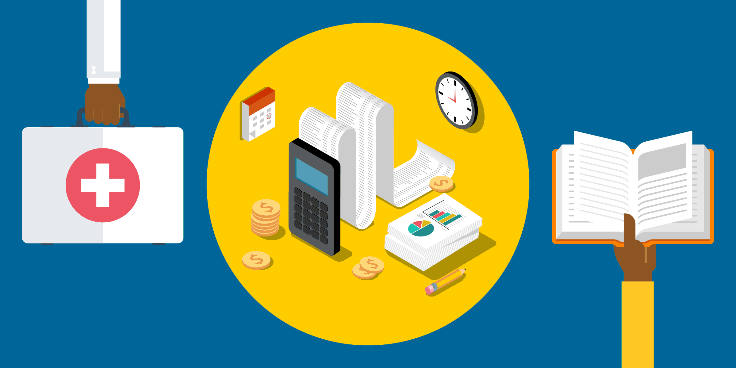 illustration of a person holding a first aid kit,  a person holding a book, and an adding machine next to a stack of printed graphs, representing how intuit quickbooks nonprofit edition helps fej build sustainable communities