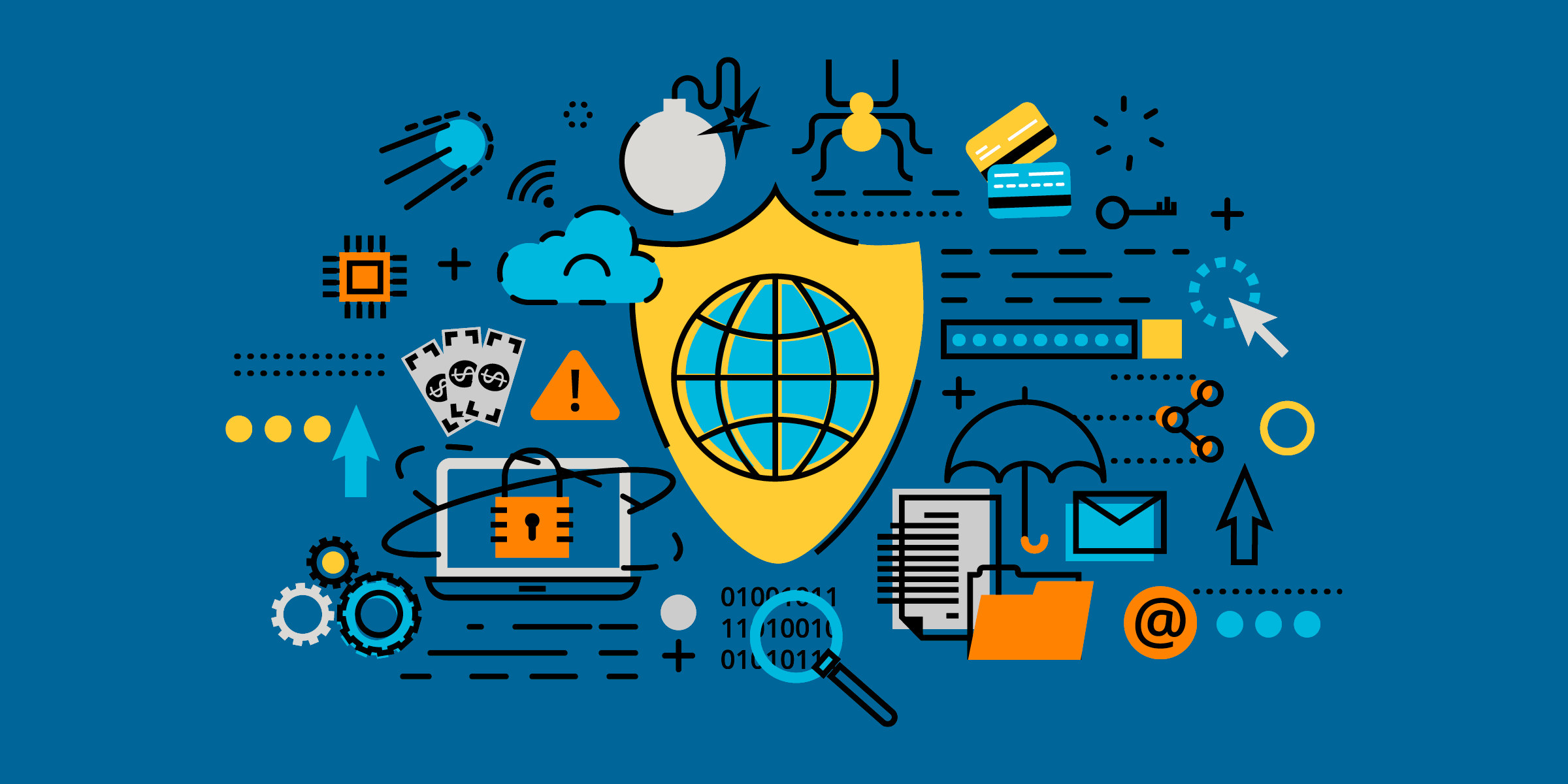 illustration of nonprofit security icons such as a locked computer, magnifying glass over zeros and ones, shield, umbrella, file folder, letter, bug, bomb, key, credit cards