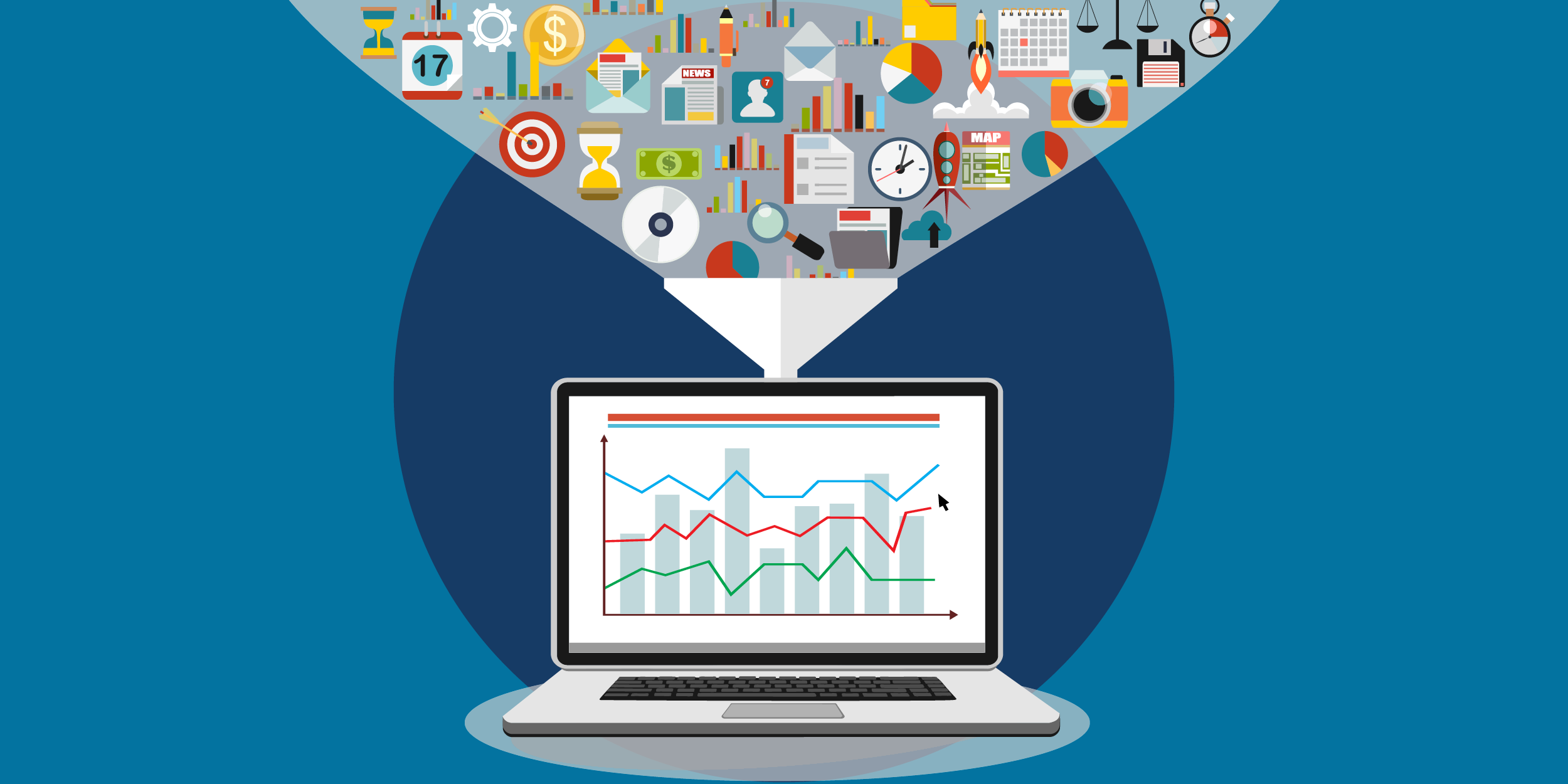 illustration of a laptop beaming out all kinds of nonprofit data, represented by calendar page, clock, magnifying glass, file folder, pie chart, etc.
