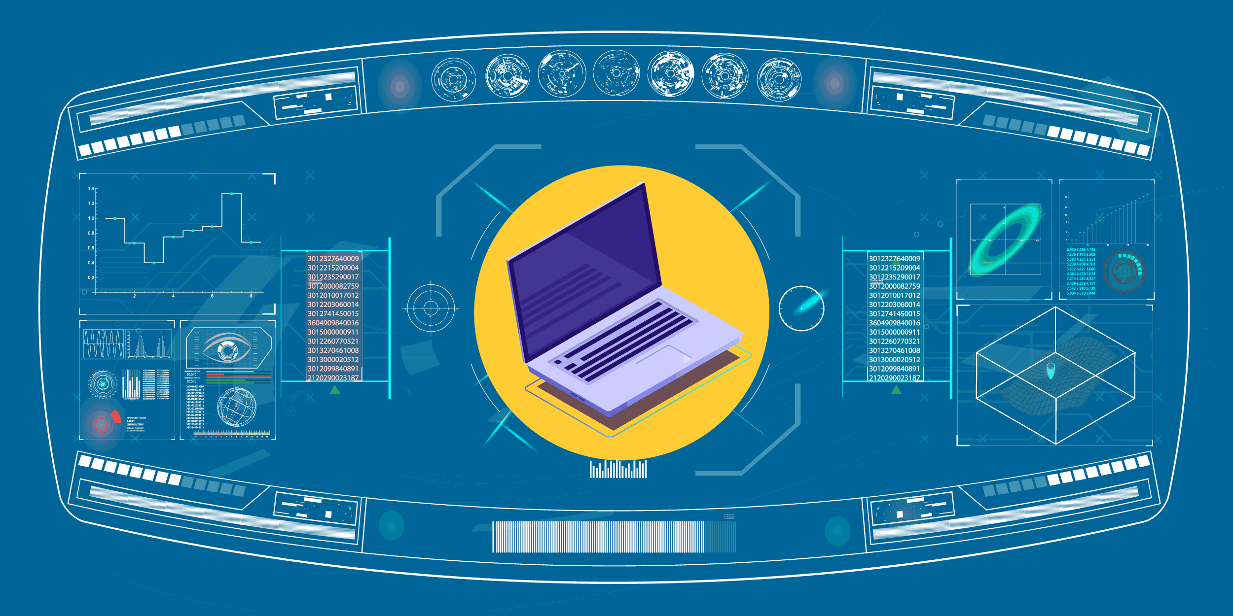 illustration of a dashboard with a laptop in the middle of it, symbolizing the need for nonprofit tech planning