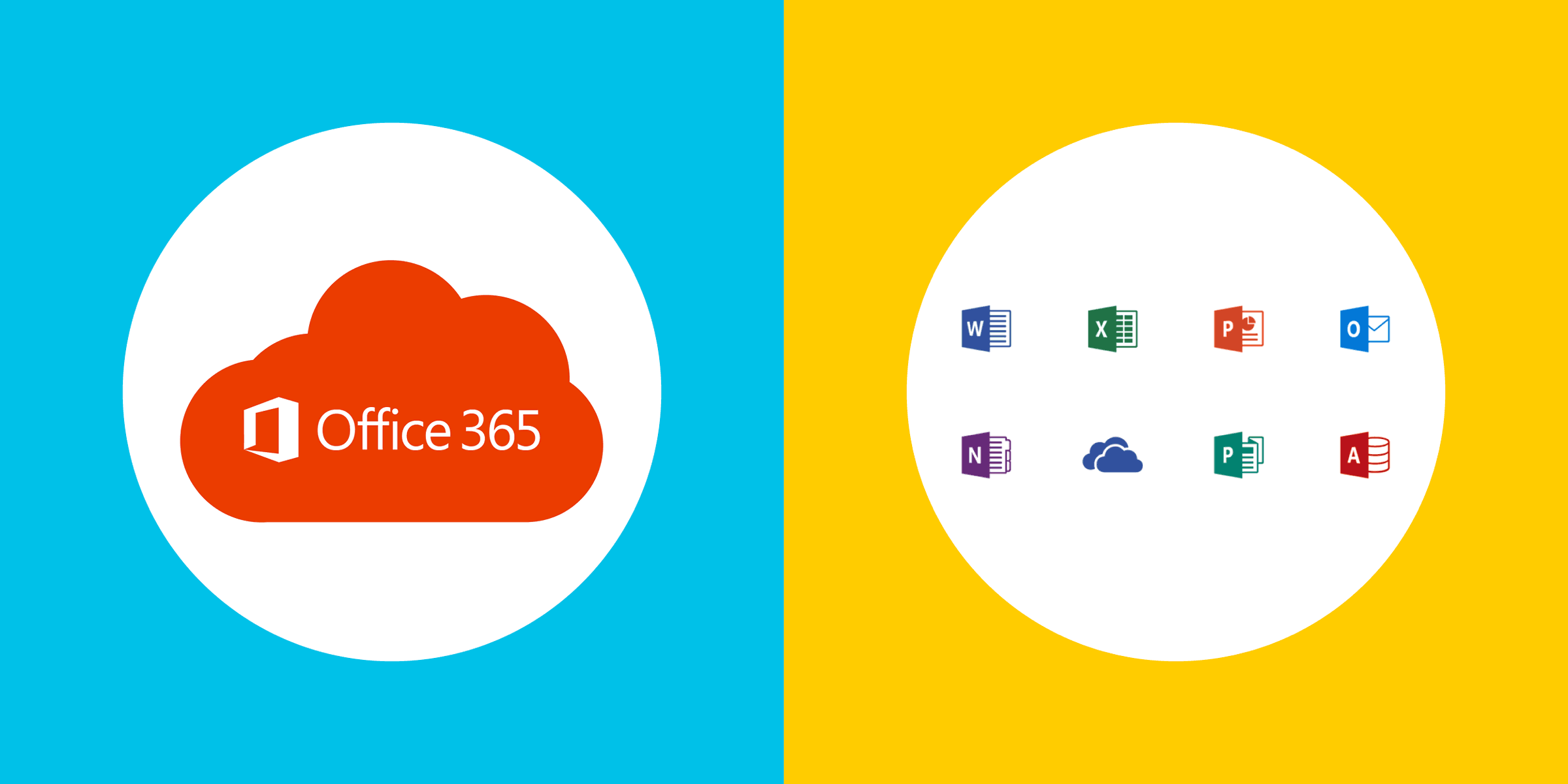 illustration with Microsoft Office 365, Word, Excel, Project, Outlook, OneNote, Cloud, Publisher, and Access logos