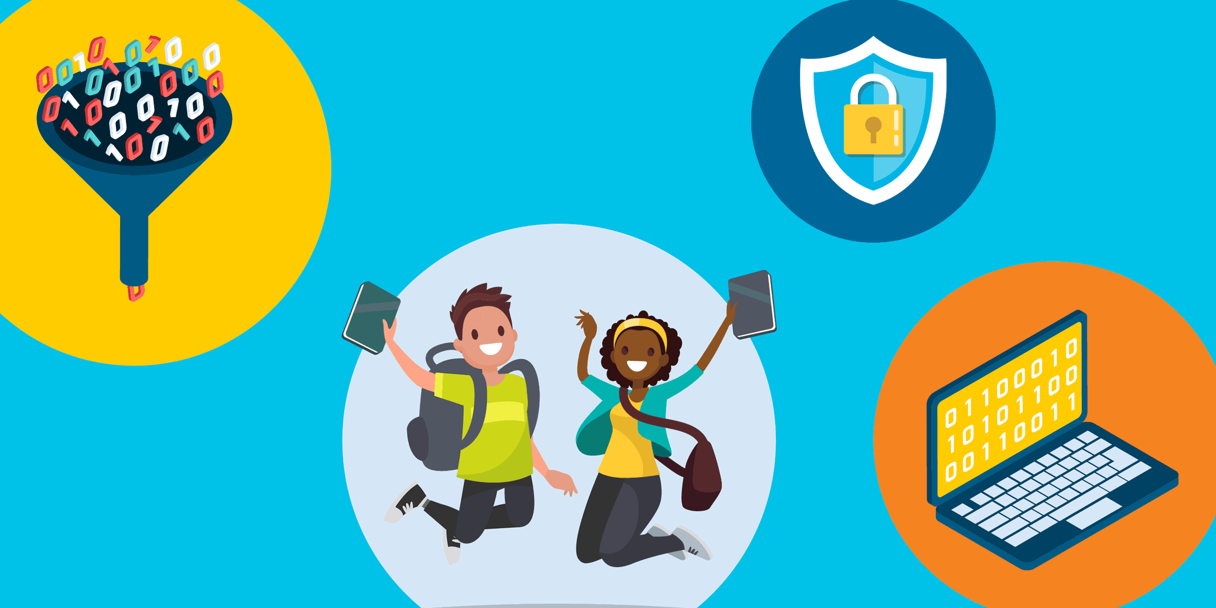 illustration of students jumping into the air,  with icons of a lock, and a laptop and a funnel with zeros and ones, representing nonprofit data security