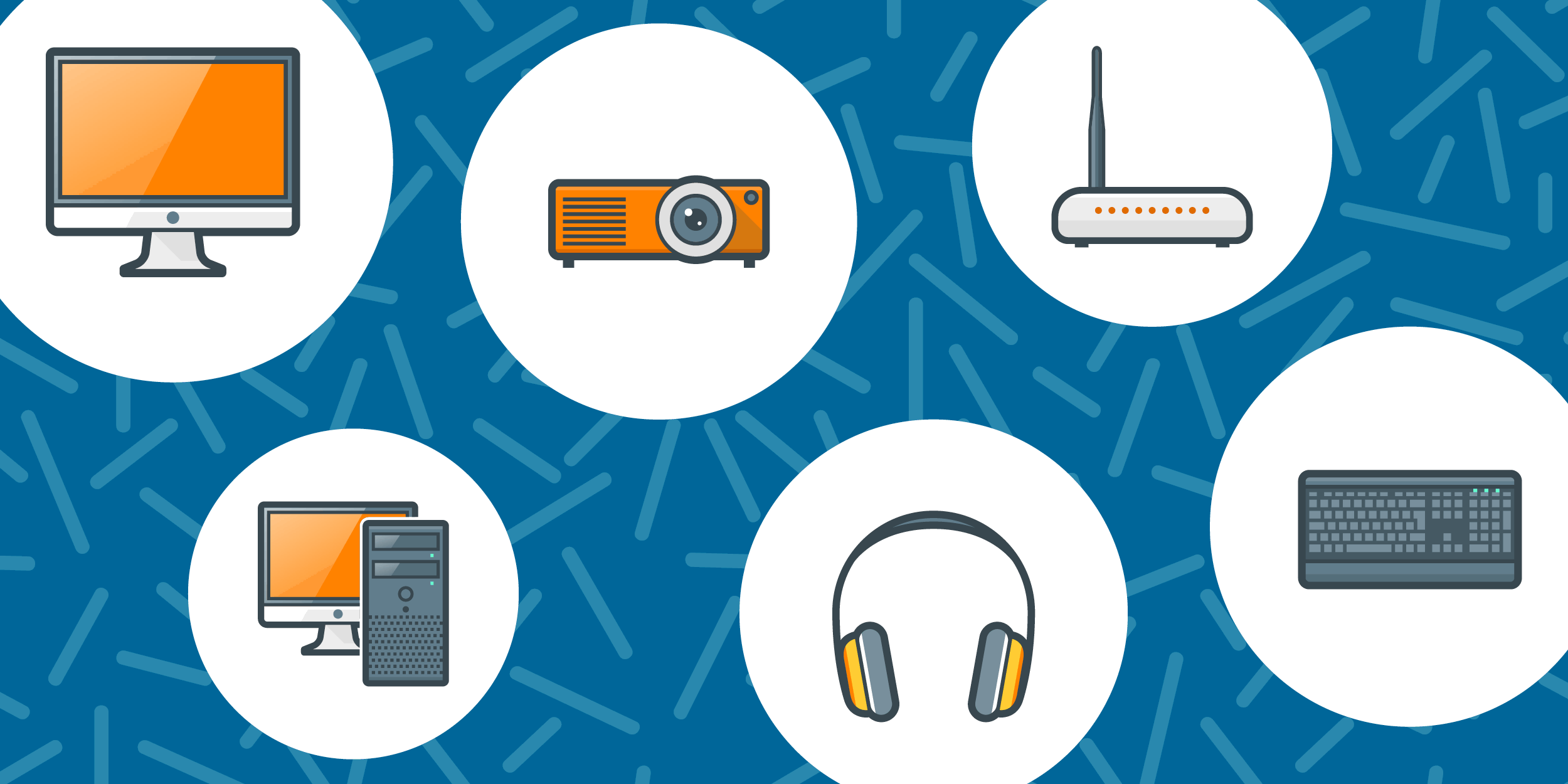 illustration of hardware available for nonprofits such as computer monitors, a projector, headsets, a keyboard, and a router