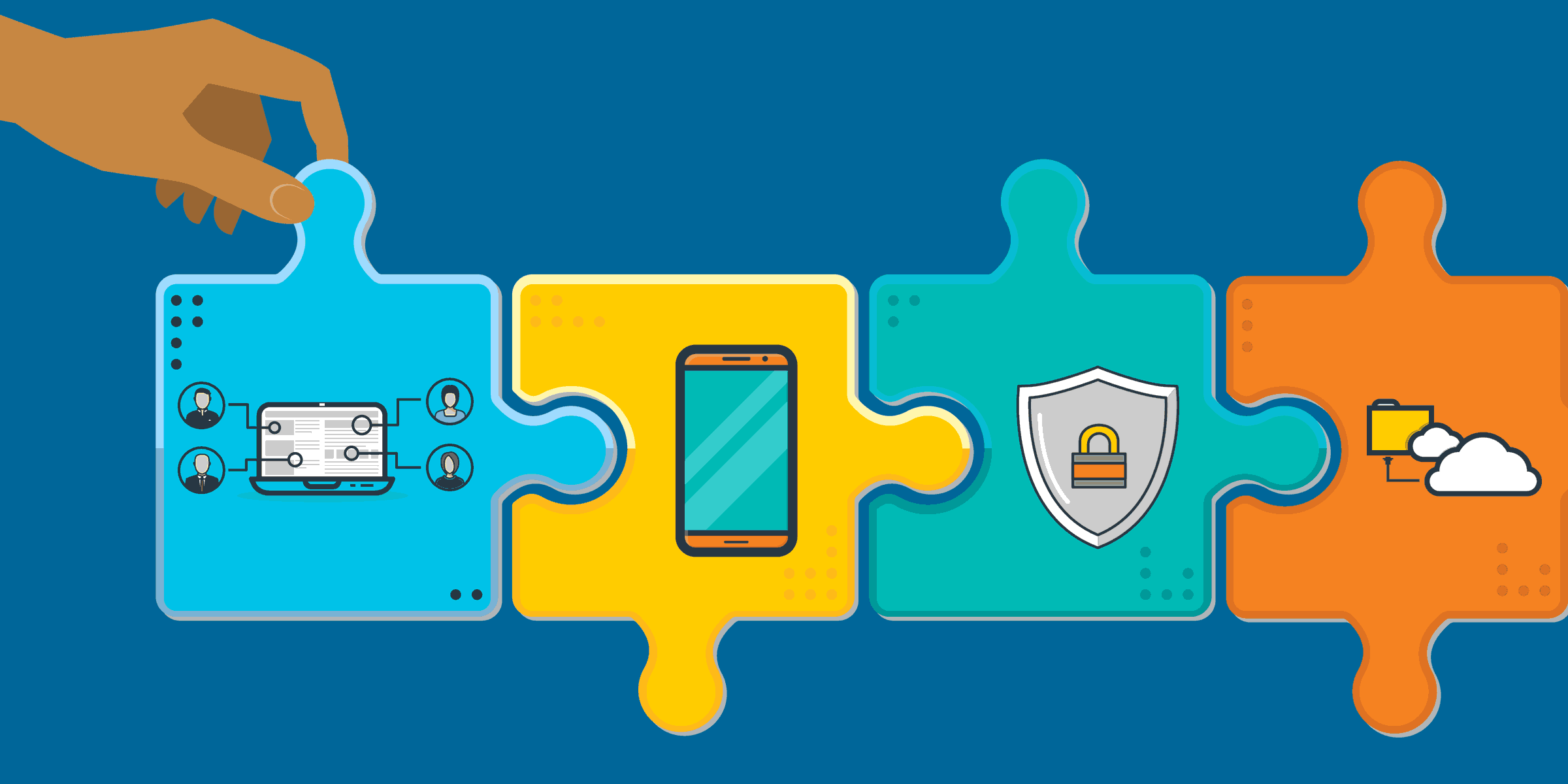 illustration of four puzzle pieces with remote workers, a mobile phone, security software, and cloud computing on them, representing the future of work for nonprofits