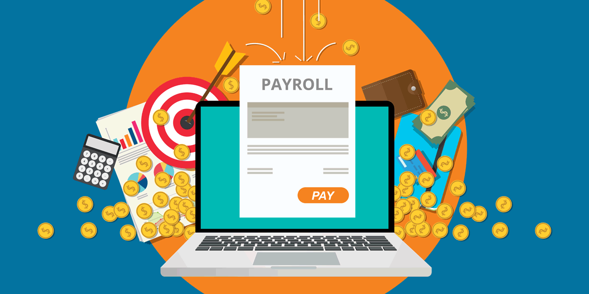 illustration of a laptop generating a paystub, coins, bills, a calculator, a target, reports, and a wallet, symbolizing adp as a nonprofit payroll solution