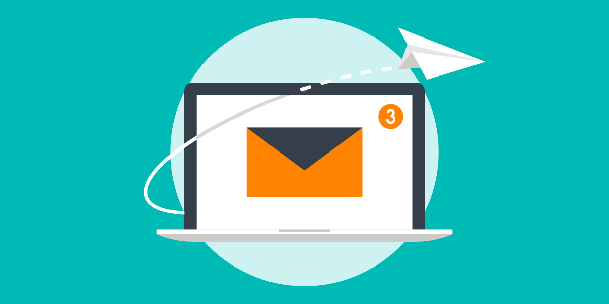 illustration of a paper airplane flying out of a laptop with an envelope and a number on it, representing nonprofit email marketing courses