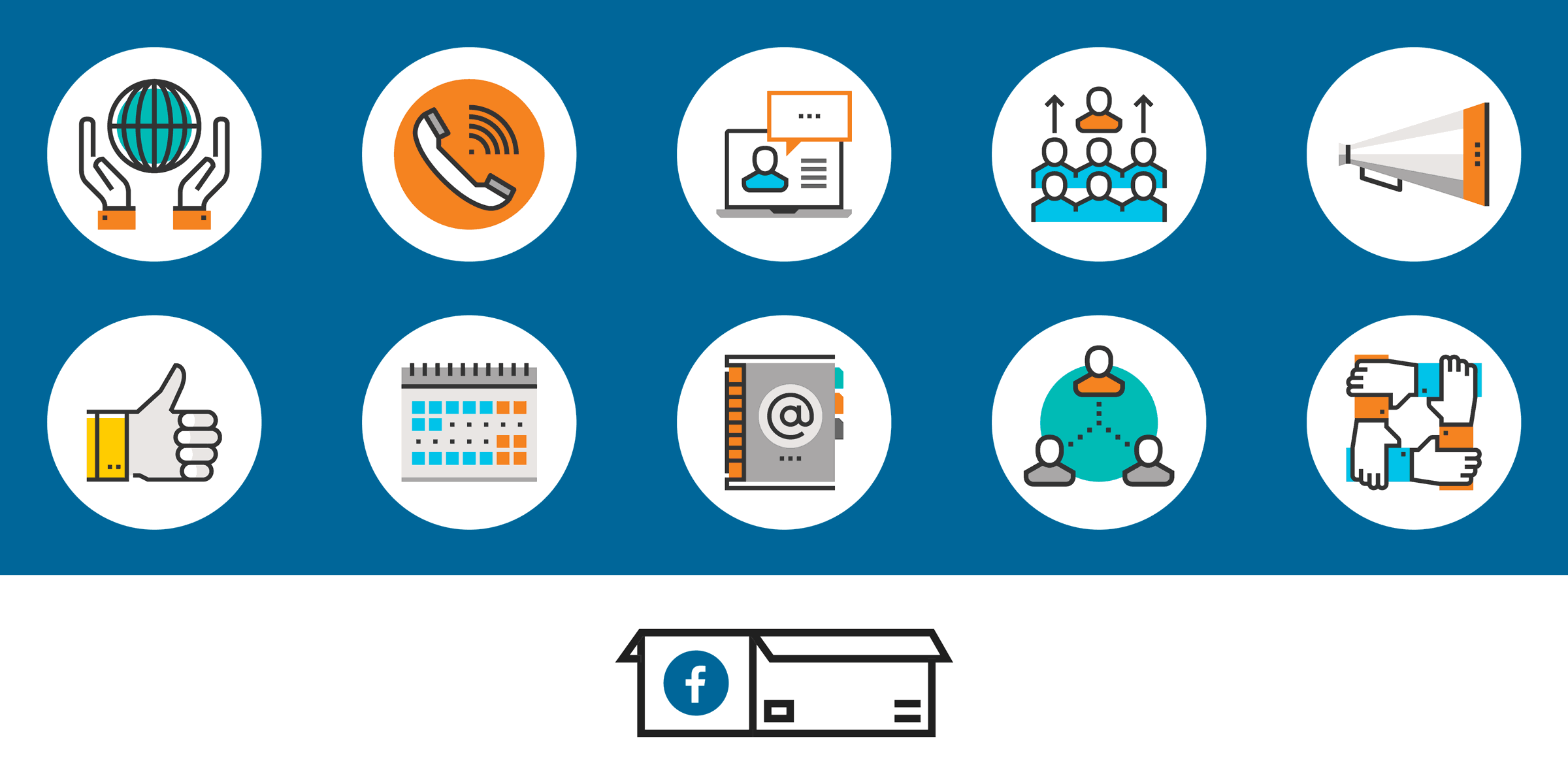 icons such as a globe between people's hands, a thumbs up, a telephone, a calendar, a chat box, a directory, and groups of people above a facebook box, representing workplace for good