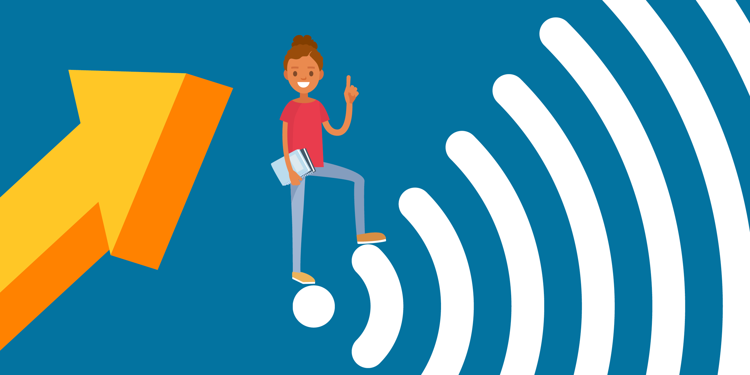 an arrow pointing at a African American female student who is climbing up a Wi-Fi symbol, representing people who are benefiting from Mobile Beacon's service via nonprofits