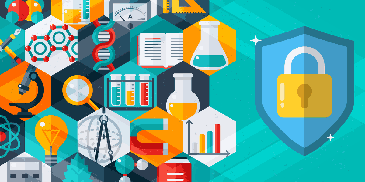 scientific tools such as a microscope, beakers, a magnet, molecules, gauges, and rulers, plus a lock on a shield, representing how symantec protects data for nonprofits