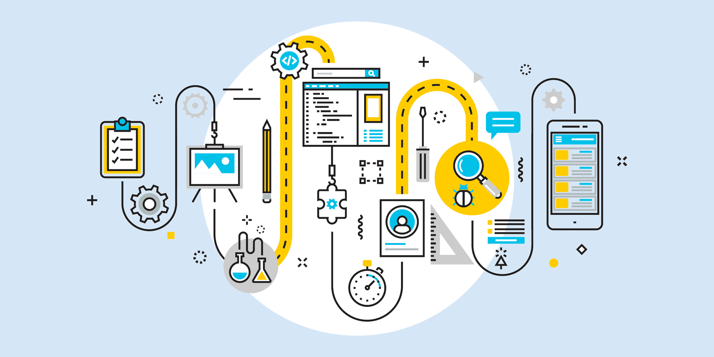 illustration of many icons such as a clipboard, gear, easel, lab flasks, pencil, file directory, stopwatch, profile, screwdriver, straightedge, magnifying glass next to a bug, screenshot, and cell phone, representing nonprofit software tools