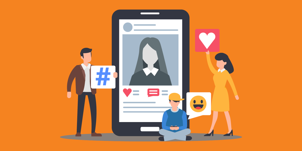 illustration of people holding and emitting social icons next to a social media post on a cellphone, representing nonprofit social media marketing courses