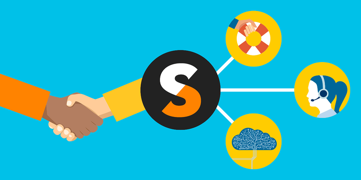 illustration of a TechSoup logo connected to a life preserver, a Help Desk staffer wearing a headset, and a brain, reaching out to shake hands with someone, representing how TechSoup's help desk, Managed IT, and cloud experts can help nonprofits