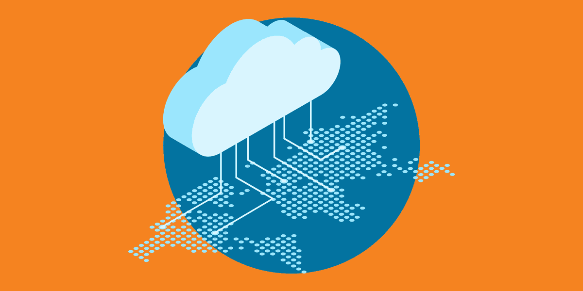 illustration of a cloud uploading data from all over the world, representing how nonprofits can benefit from amazon web services cloud storage