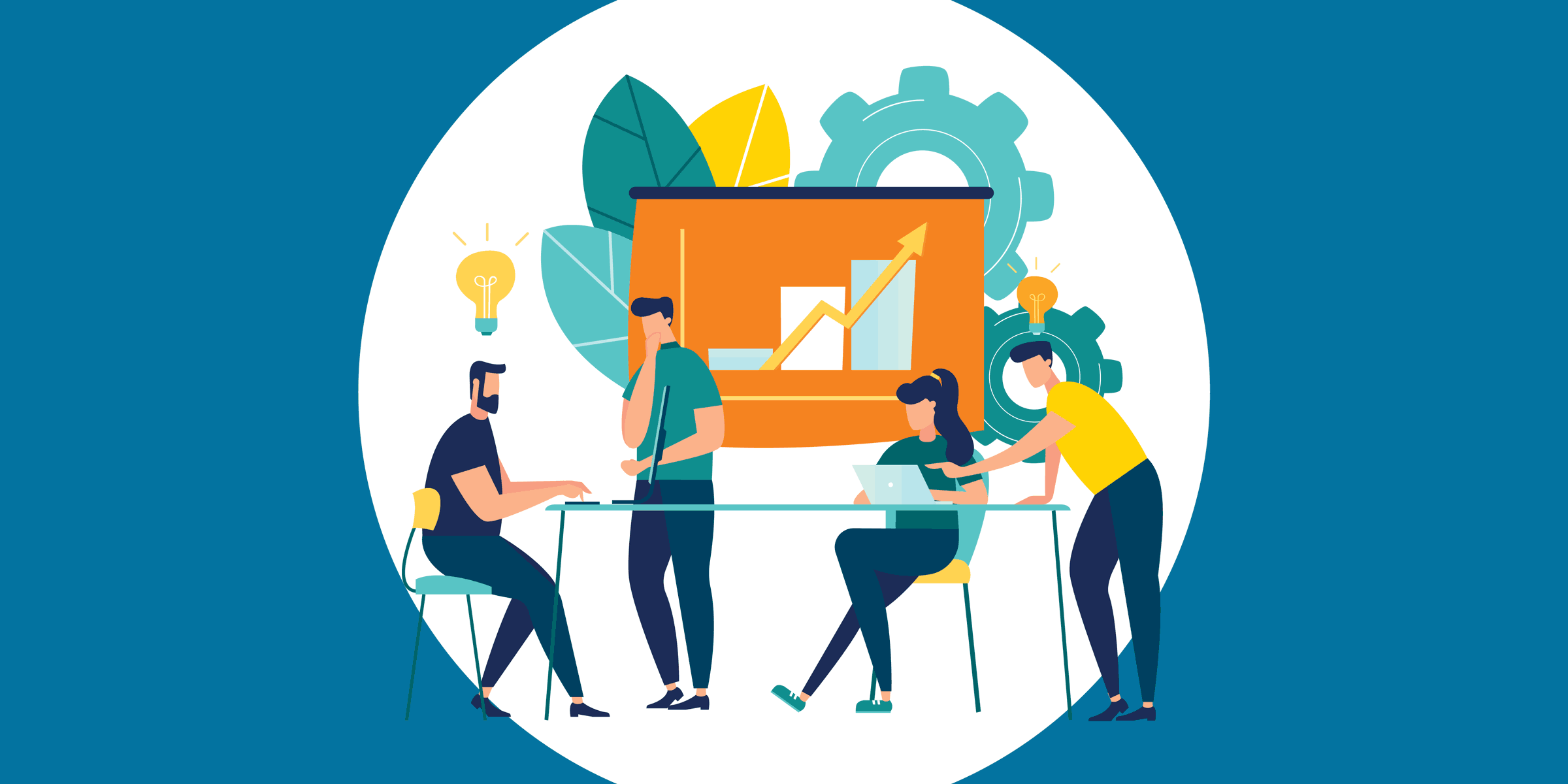 illustration of nonprofit staffers brainstorming about microsoft cloud implementation, sitting at a conference table in front of a trend chart with gears and leaves and lightbulbs over their heads