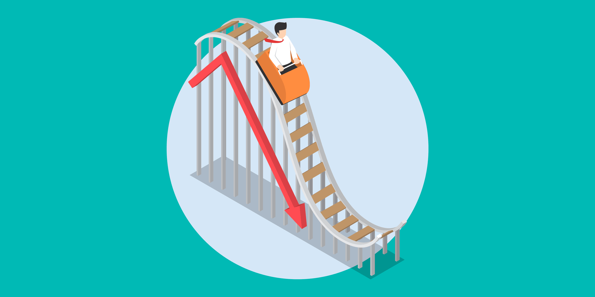 illustration of a person plunging downward on a roller coaster next to a downward trend line, representing a significant decrease in donations to nonprofits because of the new tax law