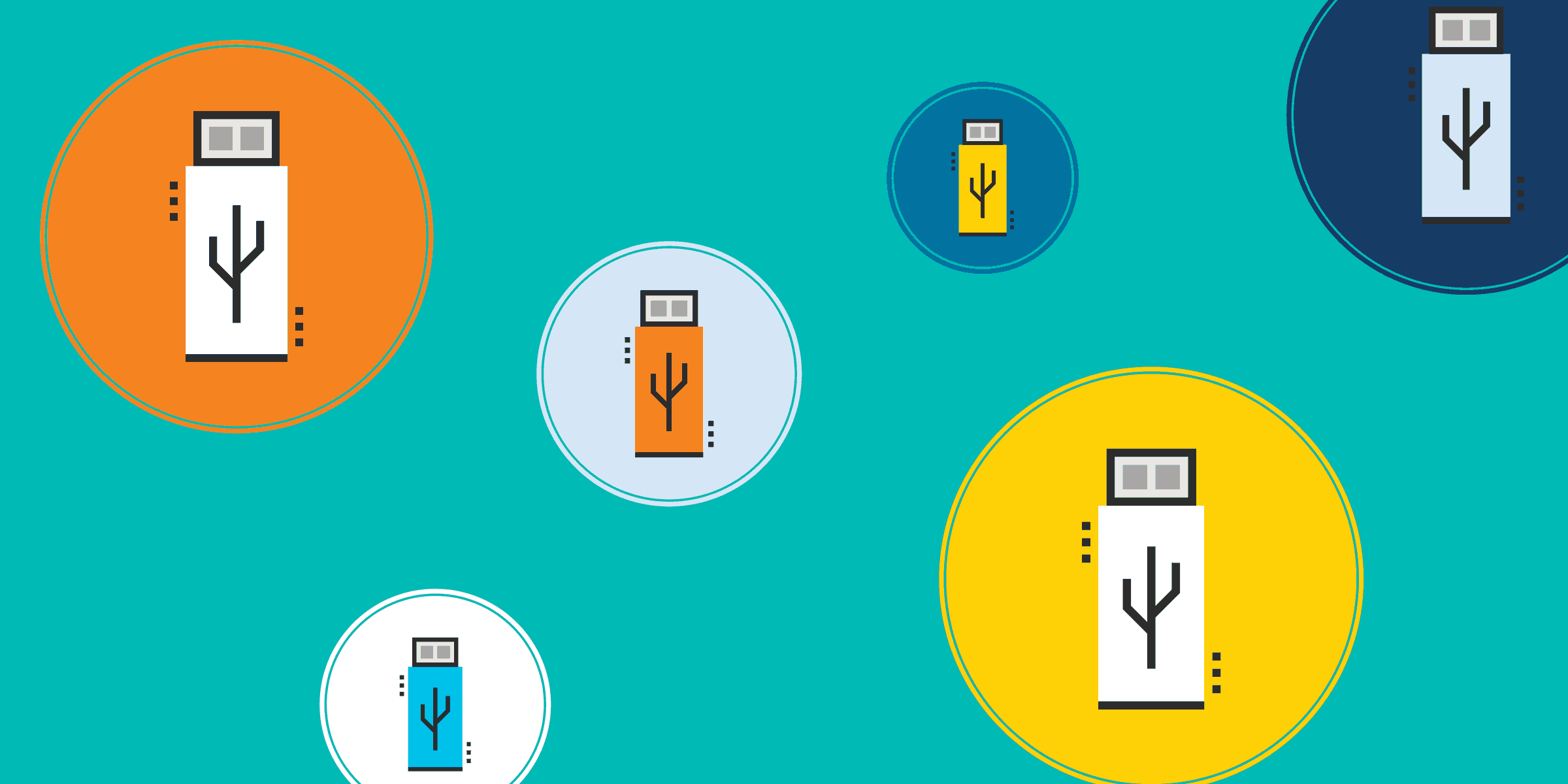 illustration of different sizes and colors of usb drives, representing the diversity of options available to nonprofits through the usb memory direct donation program at techsoup