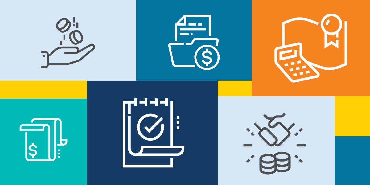 illustration of different forms of financial transactions, representing amazon web services imagine grants for nonprofits