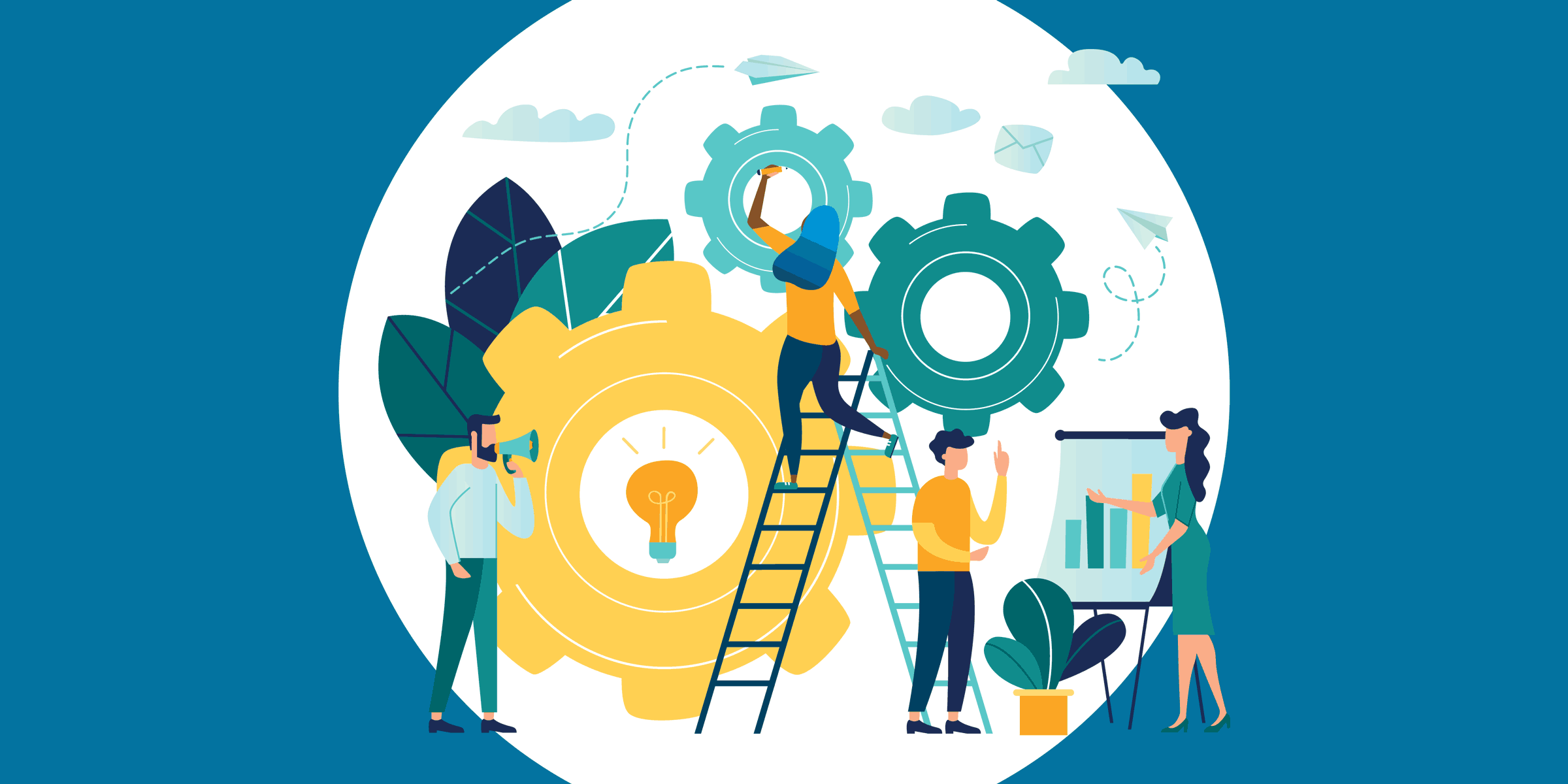 illustration of nonprofit staff members working on increasing social media engagement, symbolized through gears, a lightbulb, a megaphone, a ladder, and an easel with a bar chart on it
