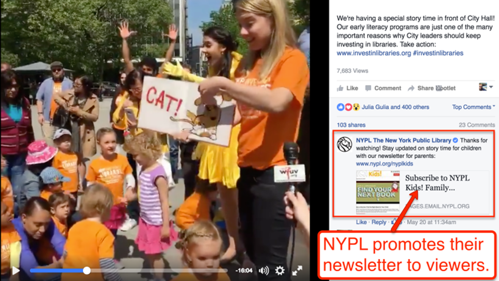 screenshot showing how the New York Public Library promotes its newsletter to viewers on Facebook