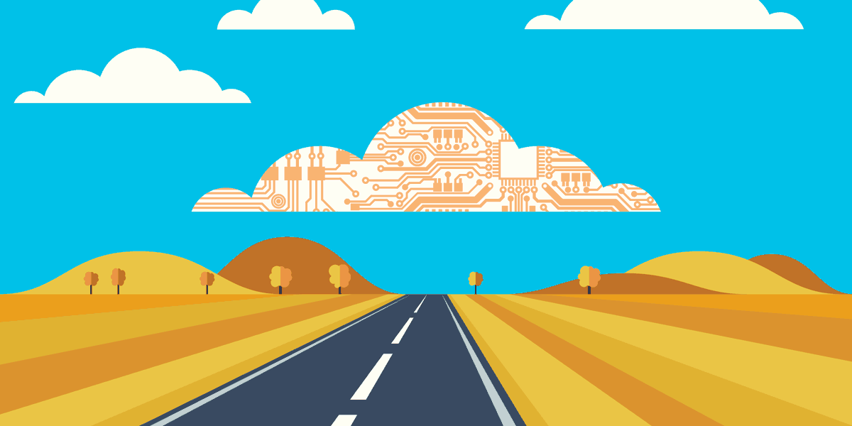illustration of a road leading through a country scene with a cloud overhead filled with circuitry, representing how microsoft cloud services can benefit nonprofits