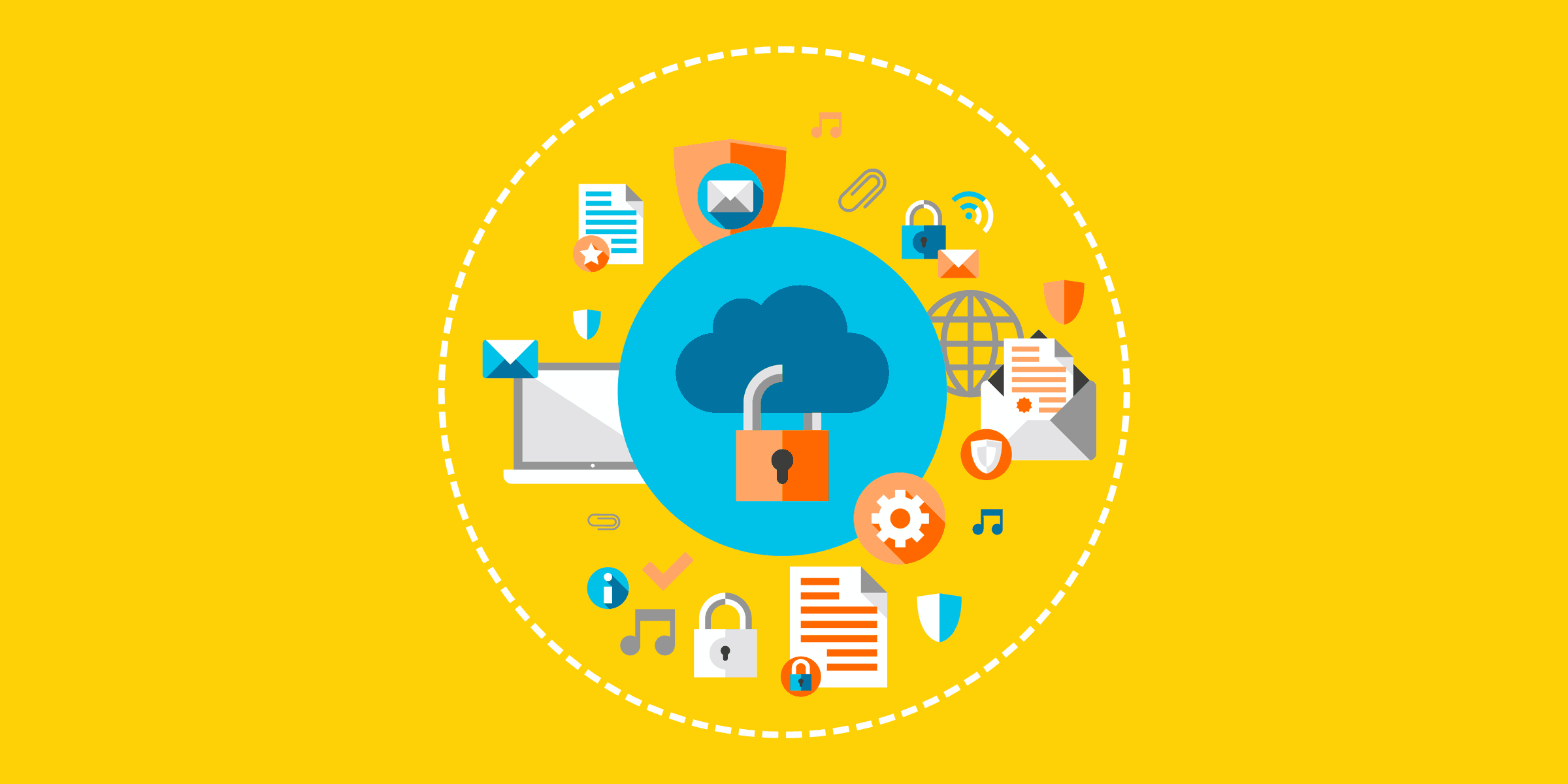 illustration of a lock in a cloud surrounded by an open letter, gear, musical notes, email message, attachment, Wi-Fi symbol, shield, and check mark, representing the educational broadband service spectrum and the value it provides to nonprofits and schools