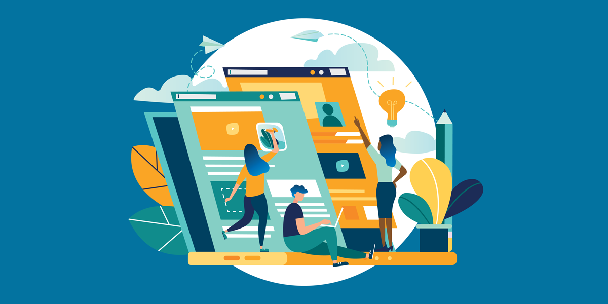 illustration of nonprofit staff members working on building a technology foundation depicted as web pages